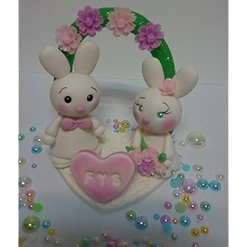 figuras kawaii porcelana fria Personalizados de la torta para la boda, boda, adorno para boda, Novios Conejo - Coneja con Arco de flores Pastel, Figuras de novios de la tarta hecha a mano