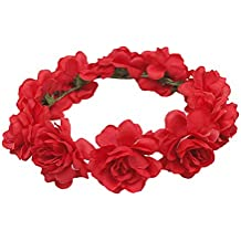 TININNA Diadema guirnalda de flor,Elegante Floral corona guirnalda para fiesta de boda Featival-Rojo