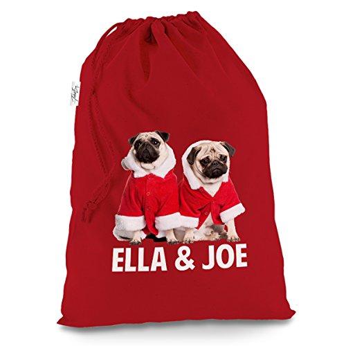 Personalisierte Weihnachts-Mops tragen Santa Kostüm groß rot Weihnachten Santa Sack Geschenk Tüte (North Pole Elf Kostüm)
