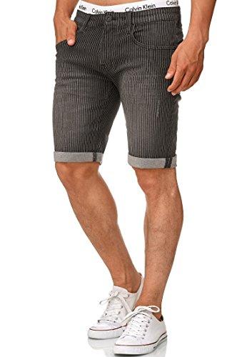 Indicode Herren Caden Jeans Shorts Kurze Denim Hose mit Destroyed-Optik aus Stretch-Material Regular Fit Dk Indigo XL - Sexy Stretch Kurze