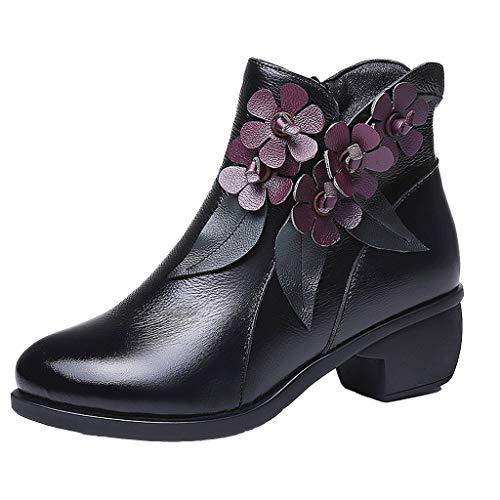 Dorical Damen Vintage Stiefeletten Gummistiefel mit Blockabsatz, Handgemachte Blumen Kurz Stiefeletten Schuhe Frauen Worker Boots Gr 35-40(Schwarz,38 EU) -