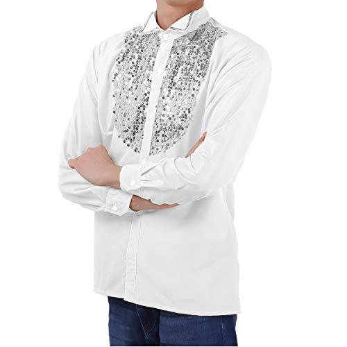 iixpin Paillettenhemd Disco Herren Langarm Shirt Glänzend Oberteile 70er 80er Jahre Disco-Hemd Party Show Hippie Performance Kostüm Weiß ()