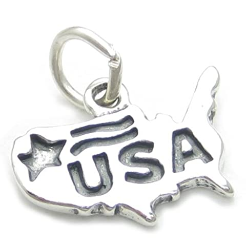 USA sterling silver charm .925 x 1 Map United States of America charms CF4264