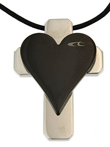 Chronotech laccetto nero uomo con croce in acciaio e dettaglio pvd nero regolabile