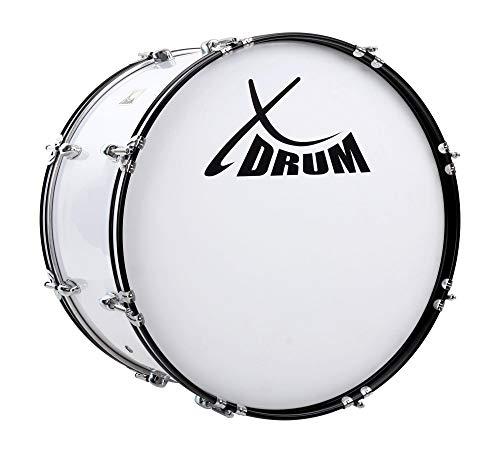 """XDrum MBD-222 Marsch Bass Trommel, Fußball Pauke 22\"""" x 12\"""" (7,5 kg, 4 Ösen, Spannschrauben, inkl. Paar Schlägel, Tragegurte, Stimmschlüssel) weiß"""