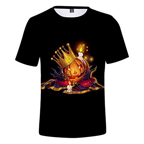 WQWQ Herren Essential T-Shirt, Halloween 3D Print Kurzarm, runder Kragen Slim Fit Shirt 100{2bcff3b3737d6c2129fb2beed69e2b6334b3df57d3bc4949e033a81257e99999} Polyester XL XXL,A,XXXXL