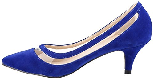 Calaier Femme Cahot 4CM Aiguille Glisser Sur Escarpins Chaussures bleu B