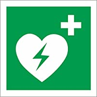 Etiqueta - Seguridad - Advertencia - Señal de seguridad ISO International Desfibrilador cardíaco externo automatizado Símbolo 10x10cm