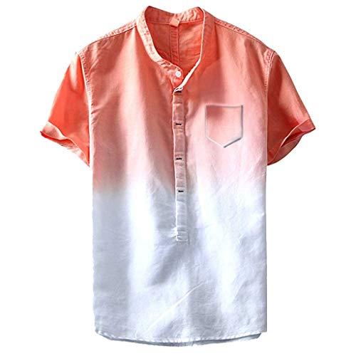 rt Slim Fit Freizeitshirt V-Ausschnitt MäNner Basic Tshirt üBergrößEn Longline Tee Stylisches Shirt(Orange,L) ()
