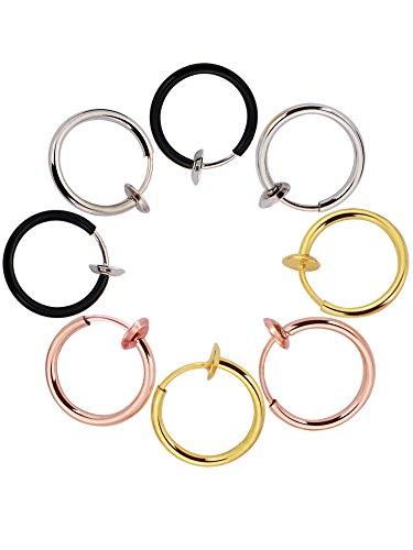 Gefälschte Ohrringen Hoop Non Piercing Nasenring Lippe Ohr Clip Körperschmuck, 4 Paare