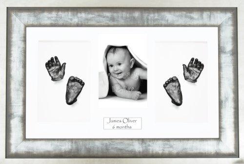 BabyRice Kit di Calco per bambino quadro 4aperture metallo urbano Passepartout Bianco/Sfondo bianco/Vernice Peltro 36,8x 21,6cm