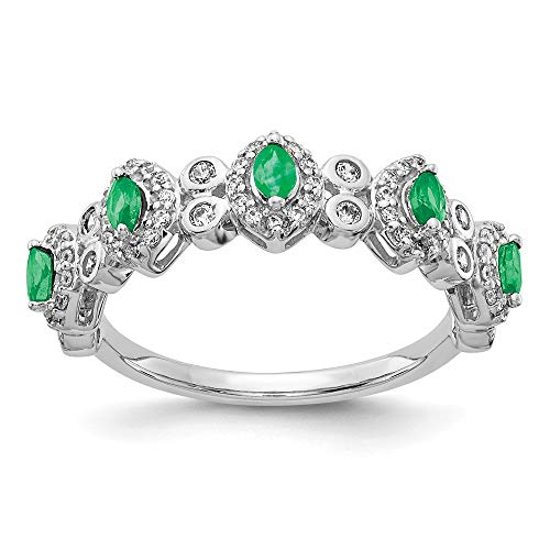 14K White Gold Diamond and Emerald Ring - Size 7