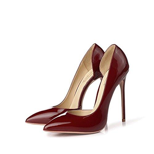 Vin rouge bien avec 12CM hauts talons pointus chaussures simples femelle