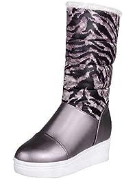 AgooLar Damen Blend-Materialien Mitte-Spitze Gemischte Farbe Ziehen auf Hoher Absatz Stiefel, Rot, 34