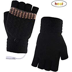 USB gants chauffants dames et messieurs mitaines mains chaudes gants d'ordinateur complet et semi chauffé sans doigts chauffage tricoter les mains au chaud lavable conception hiver chauffe-mains