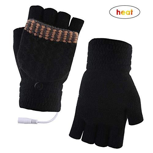 decaden USB Beheizte Handschuhe,Elektrische Beheizbare Handschuh, USB-Heizhandschuhe, USB-Handwarmhandschuhe, Warme Allfinger- Und Halbfingerhandschuhe Für Den Winter