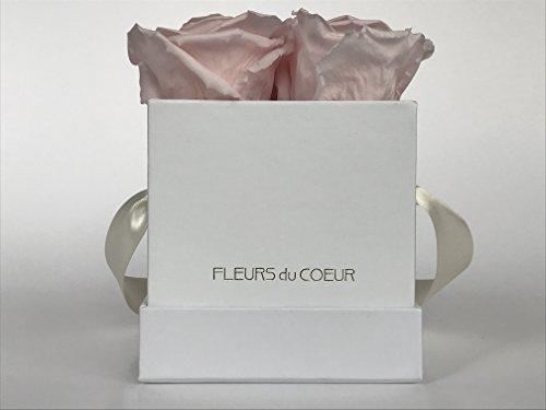 FLEURS du COEUR Infinity Blumen - Weiße Rosenbox Le Carré Eckig mit Rosa Rosen ... Infinity Blume