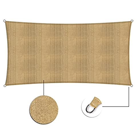 Lumaland Sun Shade Sail Rectangle 2 x 4 Meter, 100% HDPE with stabilizer for UV protection, sand