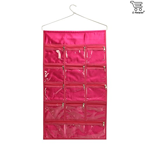 eretailer E-Retailer Premium Quality Multipurpose Jewellery Organiser Hanger with 13 Transparent Zipper Pouches(Plain Pink Design)