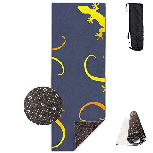 HiExotic Matte Yoga Mat Eco-Friendly Anti Slip Lizards Gecko Party On Dark Blue Mat Carrying Strap & Bag Non-Toxic Printedfor Exercise,Yoga and Pilates 71 X 24 Inch - Gecko Yoga-matte
