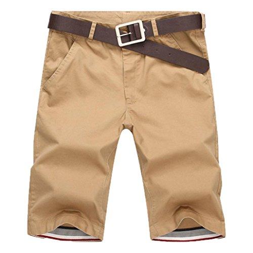 LuckyGirls Pantalones Casuales Cortos Hombres Chandal Originales Respirable Jogger Gimnasio Slim Fit Suelto Personalidad Elasticos Pantalón Ropa Deportiva Tallas Grandes(S~5XL) (M, Kaki)