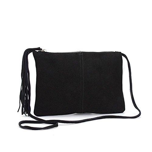 Satchels delle donne Cappuccio della pelle bovina diagonale Cross - moda nappe smerigliate Black
