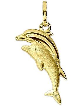CLEVER SCHMUCK Goldener Anhänger 2 Delfine springend als Pärchen 16 mm matt und glänzend kombiniert 333 GOLD 8...