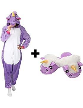 [Sponsorizzato]Très Chic Mailanda Pigiama Donna Uomo Unicorno Cosplay Animato Costume Camicie da Notte Carnevale Halloween