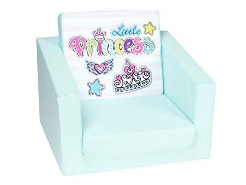 DELSIT Kindersessel zum Ausklappen Ausklappbare Kinder Sessel Baby Sessel Spielzimmer Kindermöbel für Mädchen PRINZESSIN Türkis
