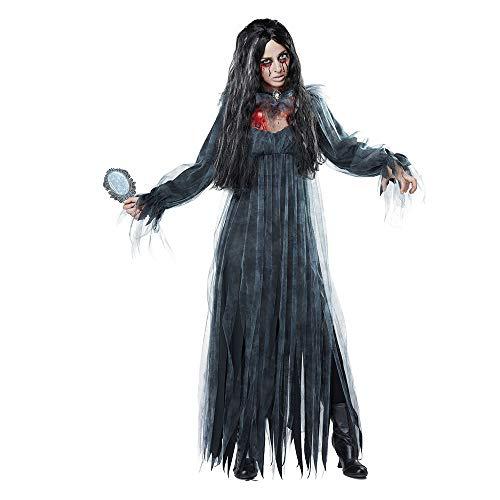 Horrorfilm Kostüm Frauen - WANLN Halloween Sexy Hexe Vampire Kostüme Erwachsene Frauen Königin Karneval Party Cosplay Kostüm Ghost Bride für Frauen,Grau,XL