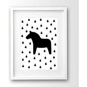Kinderposter ungerahmt, Dala Pferd skandinavisch, Poster schwarz weiß