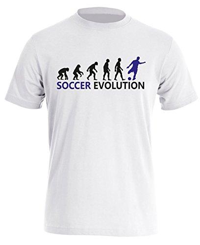 Soccer Evolution - Fußball Evolution - Football Evolution - Herren Rundhals T-Shirt Weiss/Schwarz-blau