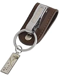 sourcingmap® Faux Leather Split Ring Waist Belt Clamp Key Holder Keyring Keychain Brown