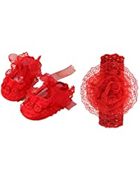 FemmeStopper Baby Shoes 9-13 Months (13cm) Baby Girl Shoes with Headband First Walker Latest 1 Year Girls Princess Shoes and Headband
