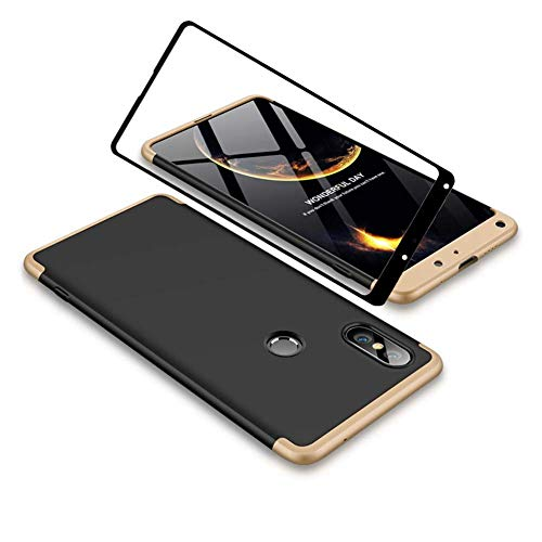 YFXP Xiaomi Mi Mix 2S Funda - Funda Xiaomi Mi Mix 2S 360 Grados Integral para Ambas Caras + Cristal Templado, Luxury 3 in 1 PC Hard Skin Carcasa Case Cover para Xiaomi Mi Mix 2S Oro Negro