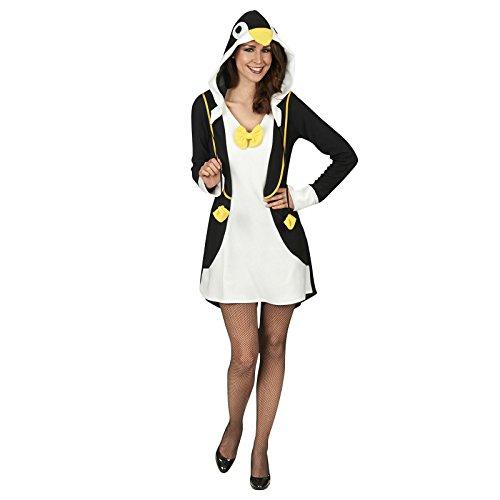 Elbenwald Pinguin Kostüm Damen Kleid mit Kapuze schwarz -