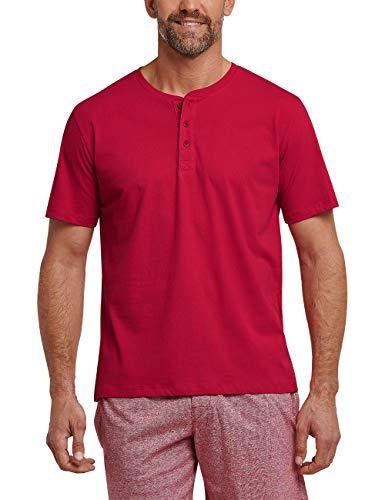 Schiesser Herren Schlafanzugoberteil Mix & Relax T-Shirt Knopfleiste Rot 500, XX-Large (Herstellergröße: 056)