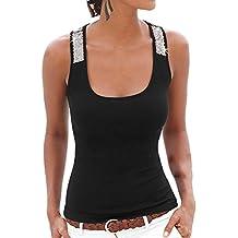 Mujeres Lentejuelas Sin Mangas Color Sólido Camisas Chaleco La Del Camisetas Negro 3XL