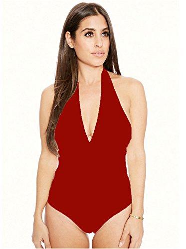 DaBagTiefer V-Ausschnitt Damen Badeanzug Strap Strand Rückenfreie Ärmellosen Halter Badeanzug Vollfarbige Weinrot