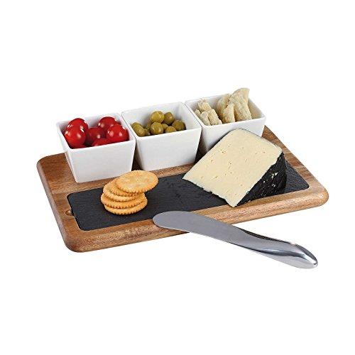 Tabla de queso madera Pizarra con queso cuchillo ACERO INOXIDABLE Tabla de cortar aperitivos y vajilla (Tabla para servir, queso–Plato de Pizarra, 3cuencos (cerámica)