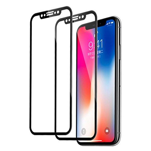 iPhone X Schutzfolie, iPhone 10 Panzerglas, Rheshine 3D Vollständige Abdeckung Displayschutzfolie für iPhone X / 10,9H Gehärtetem Glas Folie, Anti-Öl Anti-Kratzer Anti-Fingerabdruck (2 Stück, Schwarz)