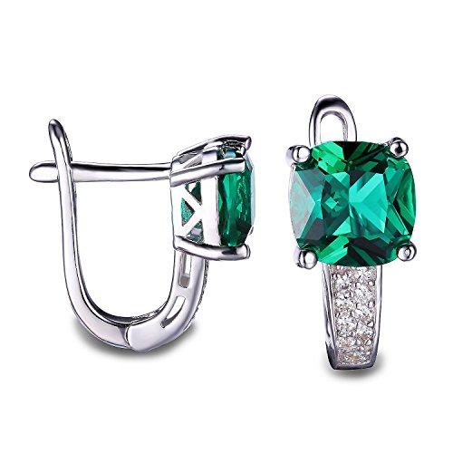 JewelryPalace Pendientes adornado Nano rusa imitado esmeralda cuadrado en plata de ley 925