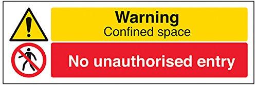 vsafety Schilder 67122ax-r Warnung, engem Raum/keine unbefugtem Eintrag Warnung Building Sign, 1mm starrer Kunststoff, Landschaft, 300mm x 100mm, schwarz/rot/gelb