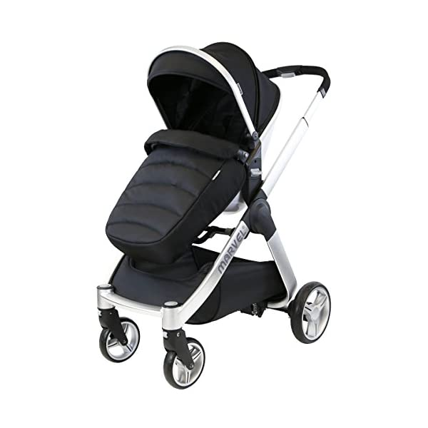 iSafe Marvel 3 in 1 Travel System with Car Seat & Carrycot & Luxury Changing Bag (Black Pearl) iSafe Complete With Free Carseat & Carrycot & Luxury Changing Bag Complete With Free Stroller Raincover Complete With Free Stroller Boot Cover 2