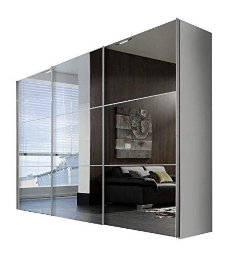 Express Möbel Kleiderschrank Schlafzimmerschrank Weiß 300 cm mit Spiegelfront, 3-türig, BxHxT 300x216x68 cm, Art Nr. 01650-182