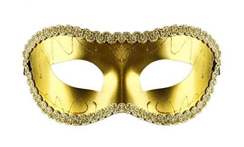 Lovelegis Venezianische Maske - Goldfarbe - Steif - Glitter - Stoff - Verkleidung - Kostüm - Karneval - Halloween - Cosplay - Zubehör - Mann - Frau
