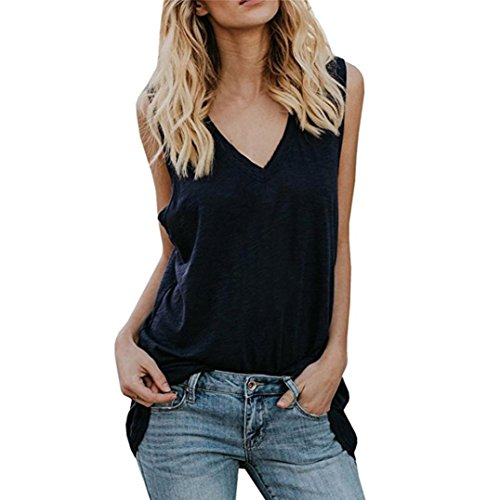VJGOAL Womens Summer Cotton Tank Tops Solid V Neck Sleeveless Casual Summer Loose Fit Vest Tunic Shirts T Shirts Blouse