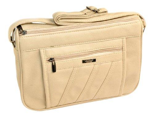 Mittelgroße Damen-PU-Handtasche mit 2 Kammern Beige