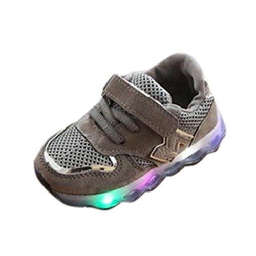 Scarpe da skateboard per bambino&bambina unisex -led scarpe high-maglia led accendere luminoso scarpe da ginnastica sportive da tennis shoes 20-29 -bambine (grigio, eu:23)