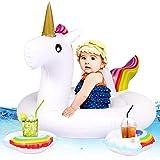 Tacobear Barca per Bebè Bambini Unicorno Gonfiabile Galleggiante Float Piscina Salvagente Gonfiabile Piscina Giocattolo con 2 Portabicchieri Gonfiabile